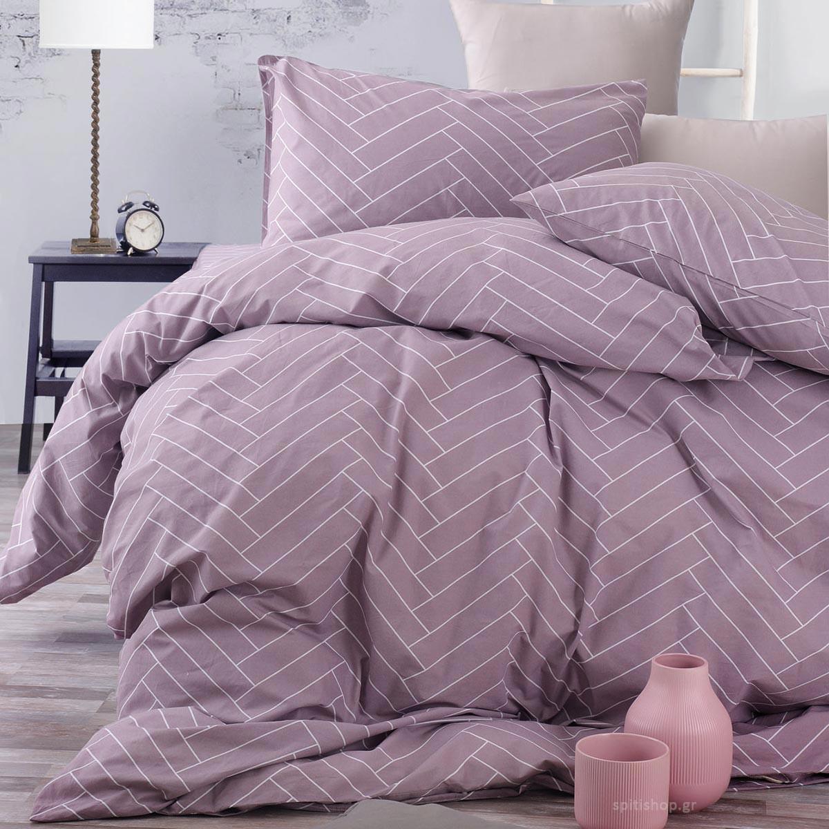 Σεντόνια Υπέρδιπλα (Σετ) Rythmos Symbol Tiles Purple ΜΕ ΛΑΣΤΙΧΟ ΜΕ ΛΑΣΤΙΧΟ