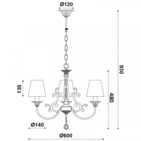 Φωτιστικό Οροφής Τρίφωτο Aca EG169883PB White Gold
