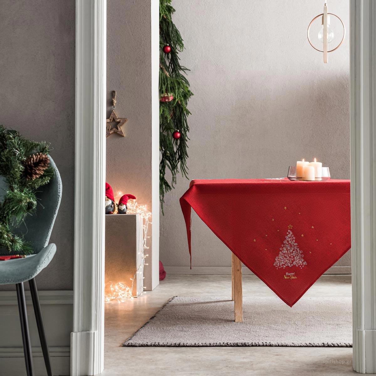 Χριστουγεννιάτικο Τραπεζομάντηλο (135×135) Gofis Home 977/02