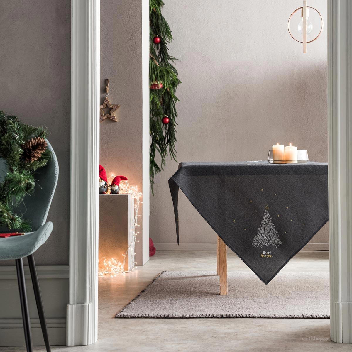 Χριστουγεννιάτικο Τραπεζομάντηλο (135×135) Gofis Home 977/15
