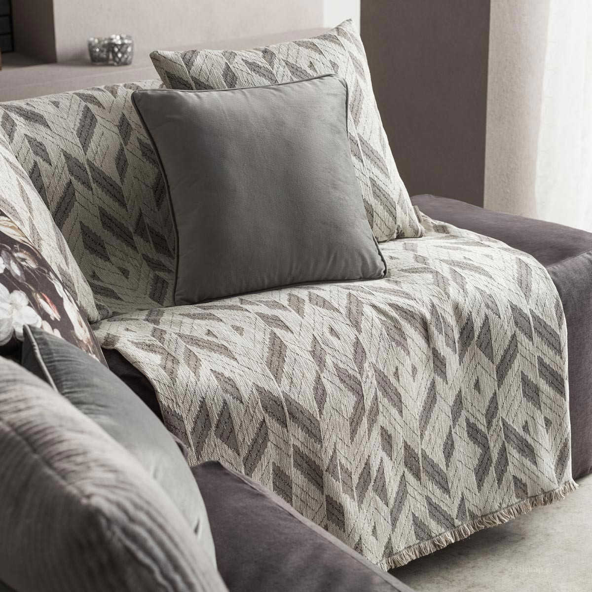 Ριχτάρι Πολυθρόνας (180×180) Gofis Home Niagra Grey 842/15