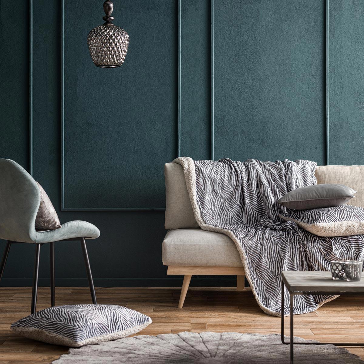 Κουβέρτα Καναπέ Gofis Home Zebre Grey 836/15