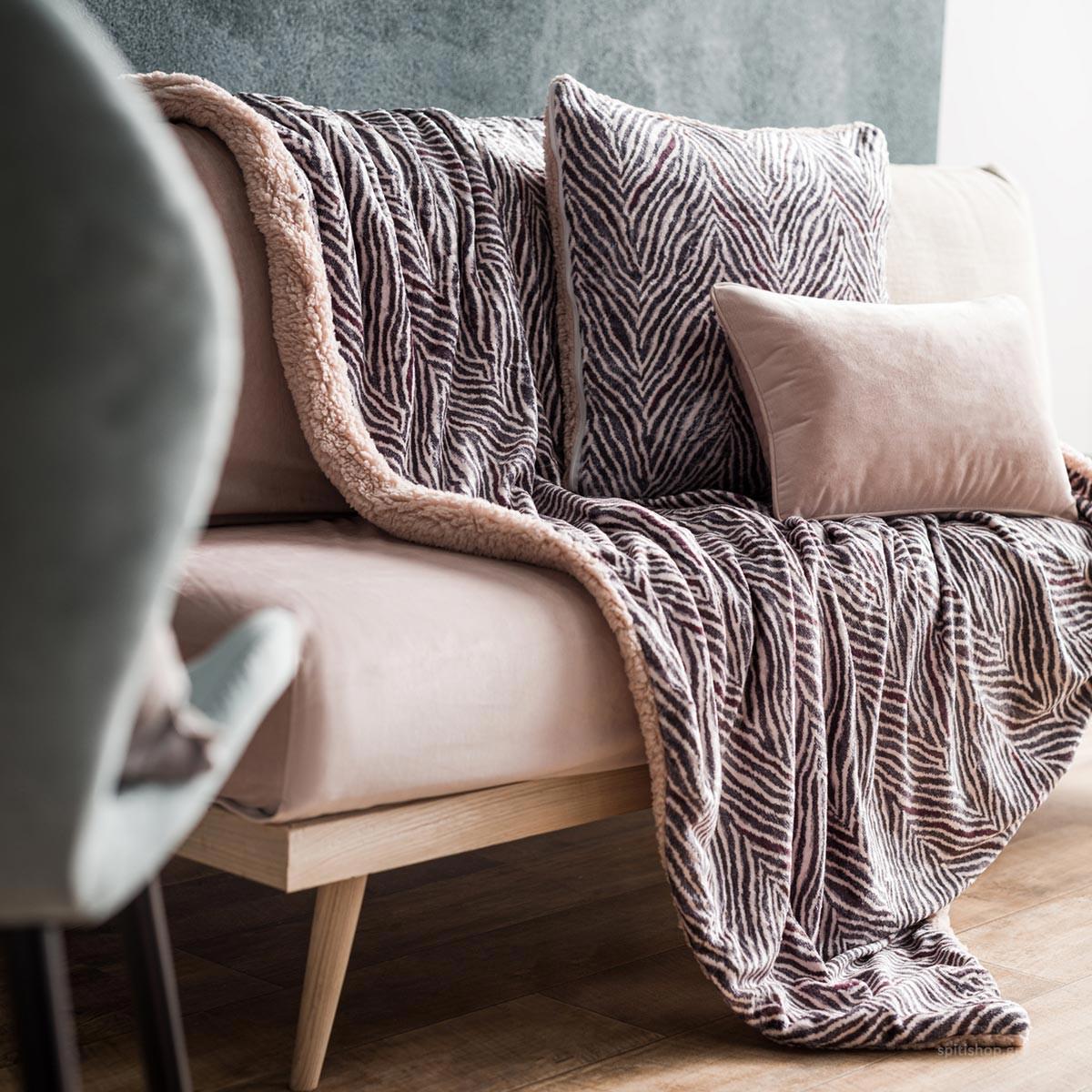 Κουβέρτα Καναπέ Gofis Home Zebre Powder Pink 836/17