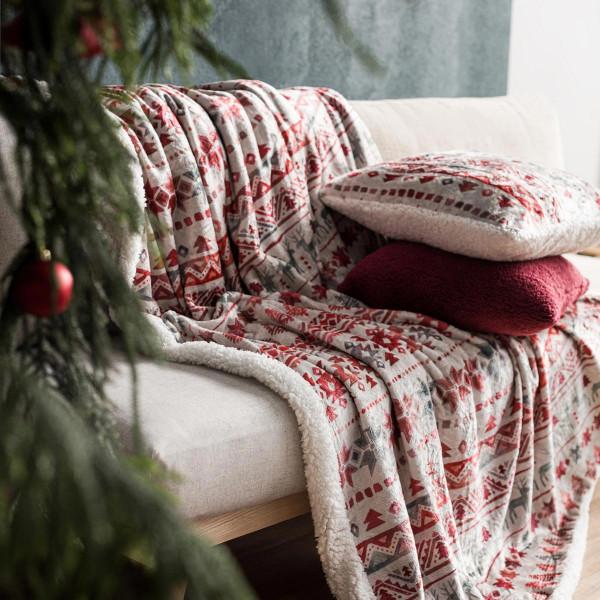 Χριστουγεννιάτικη Κουβέρτα Καναπέ Gofis Home 854