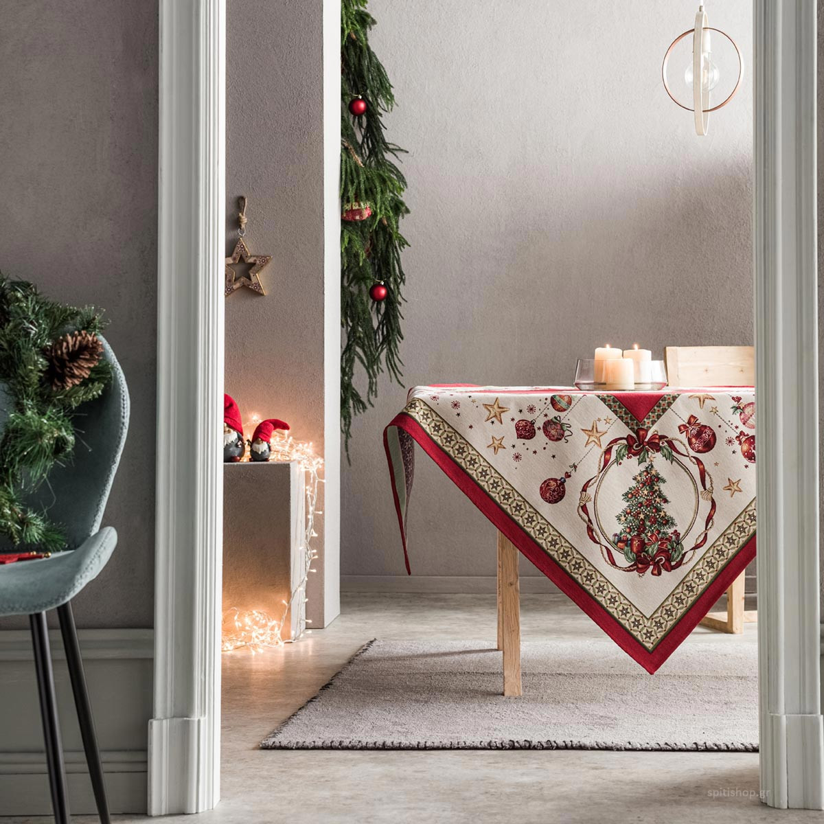 Χριστουγεννιάτικο Τραπεζομάντηλο (135×135) Gofis Home 693