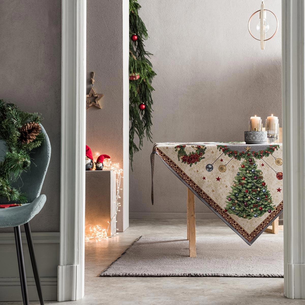 Χριστουγεννιάτικο Τραπεζομάντηλο (135×135) Gofis Home 718