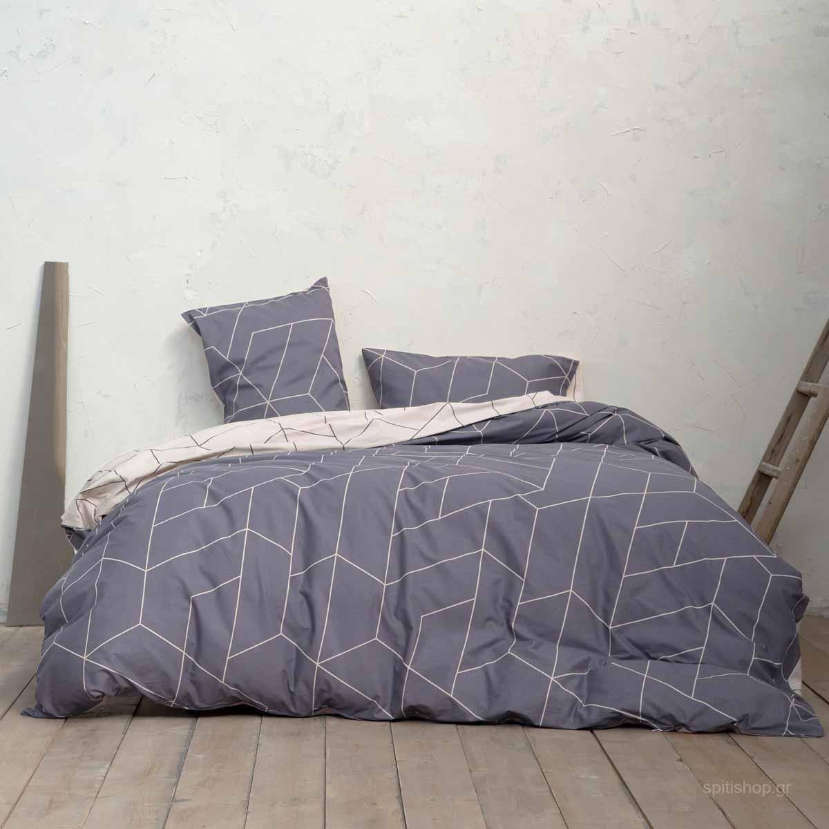 Σεντόνια Υπέρδιπλα (Σετ) Nima Bed Linen Parity Grey ΧΩΡΙΣ ΛΑΣΤΙΧΟ 240×260 ΧΩΡΙΣ ΛΑΣΤΙΧΟ 240×260