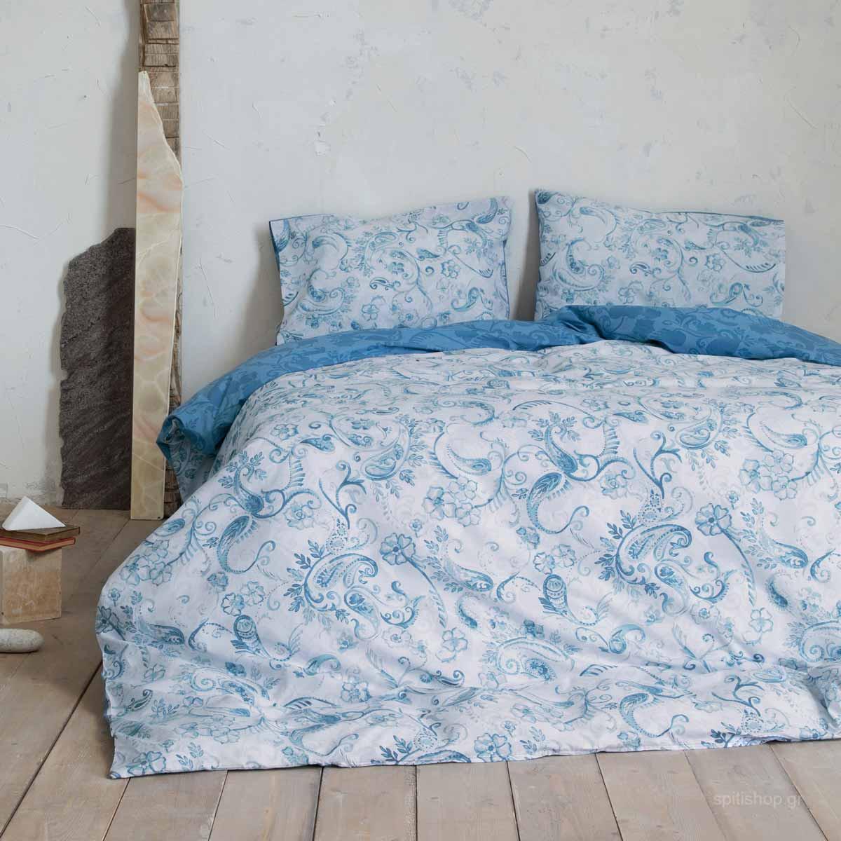 Παπλωματοθήκη Μονή (Σετ) Nima Bed Linen Roussia Blue