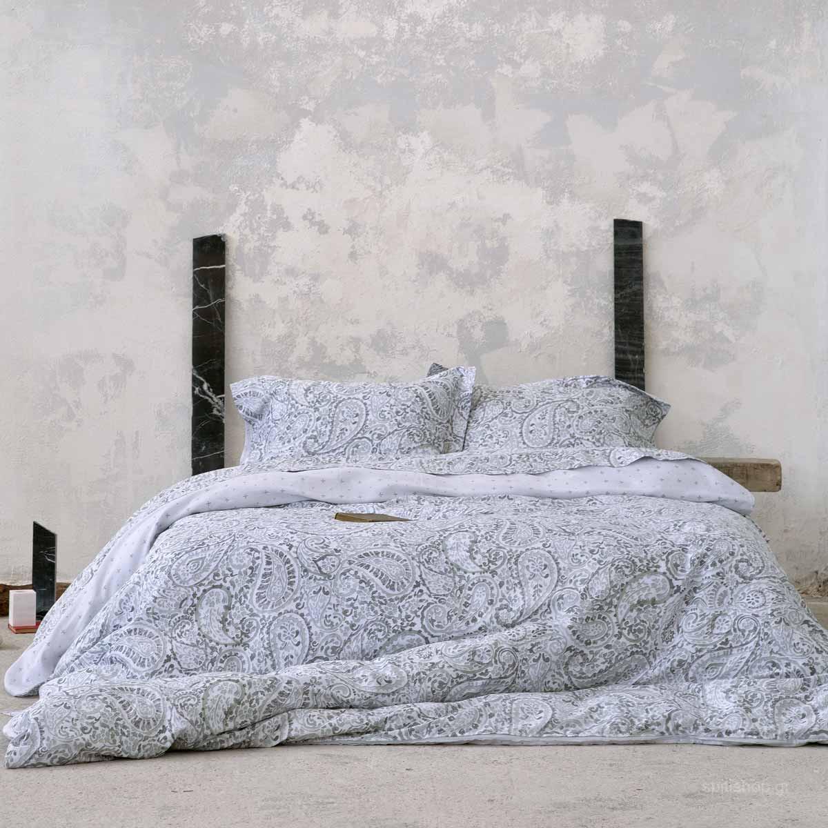 Σεντόνια King Size (Σετ) Nima Bed Linen Giacomo Grey ΜΕ ΛΑΣΤΙΧΟ 180×200+32 ΜΕ ΛΑΣΤΙΧΟ 180×200+32