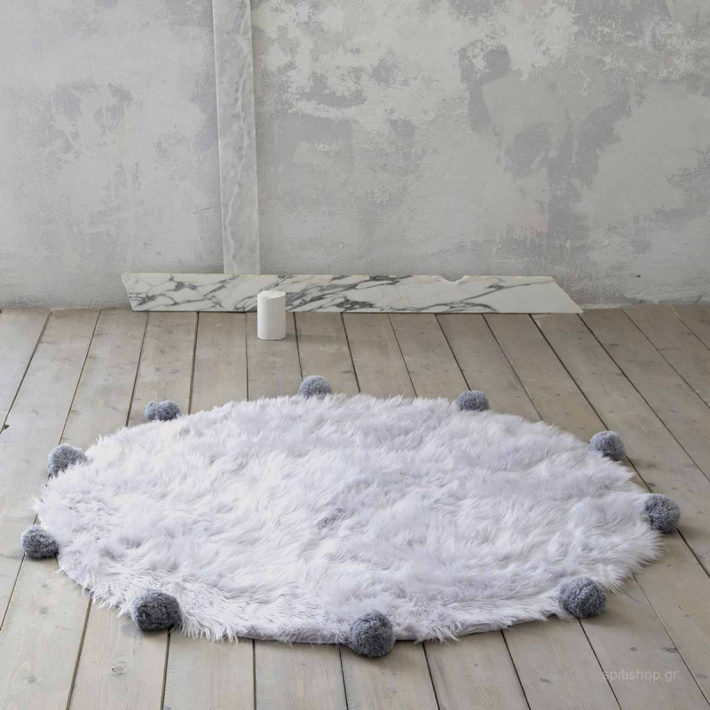 Γούνινο Στρογγυλό Χαλί (Φ150) Nima Carpets Fluffy Grey