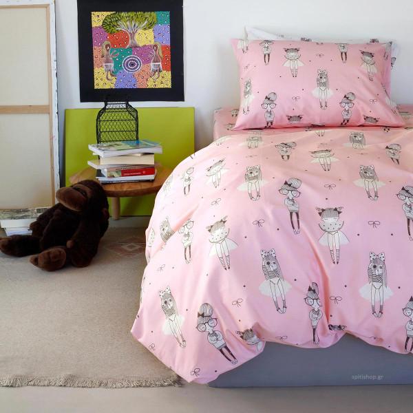 Σεντόνια Μονά (Σετ) Melinen Kids Cute Pink