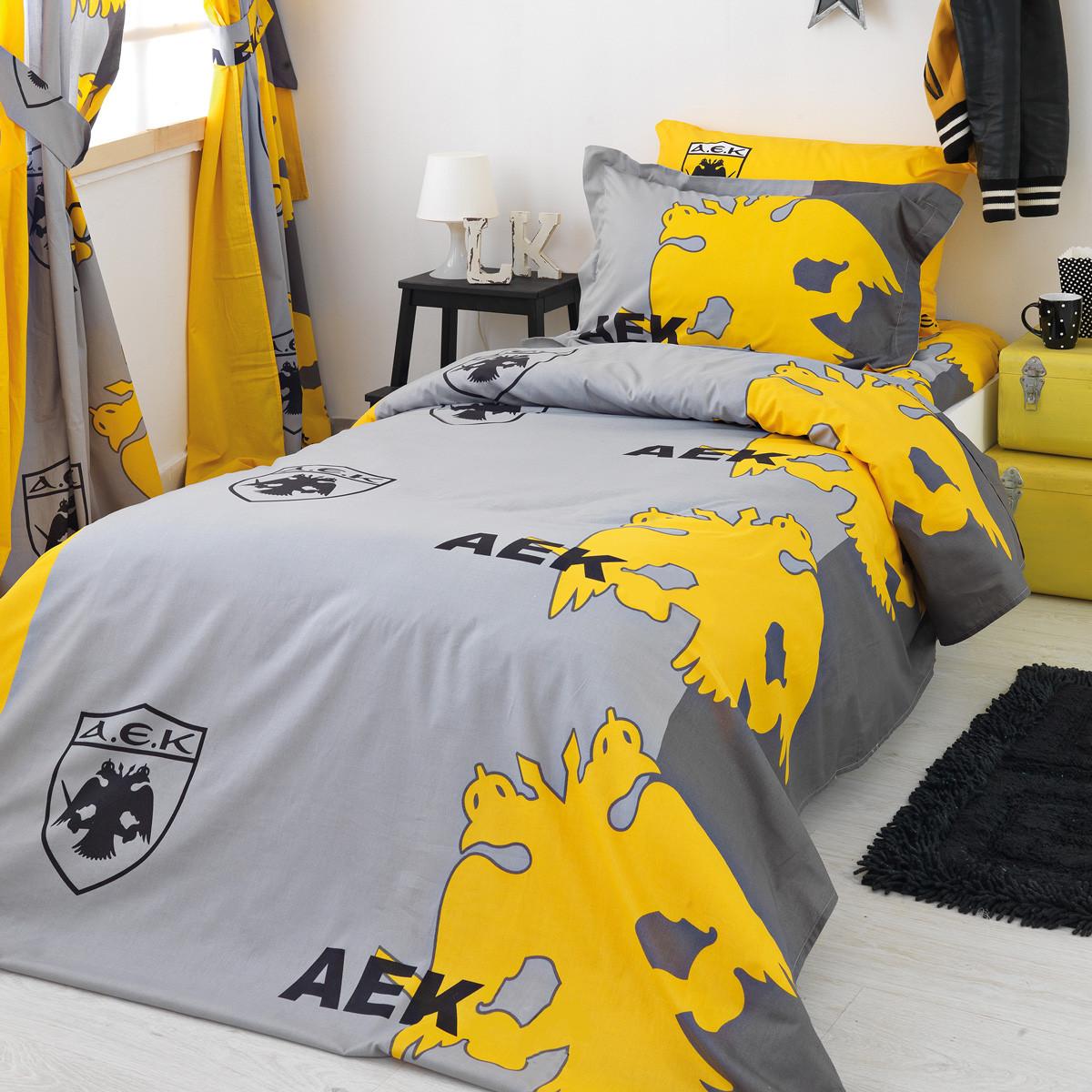Σεντόνια Μονά (Σετ) Palamaiki AEK FC/2 ΜΕ ΛΑΣΤΙΧΟ 110×200+30 ΜΕ ΛΑΣΤΙΧΟ 110×200+30