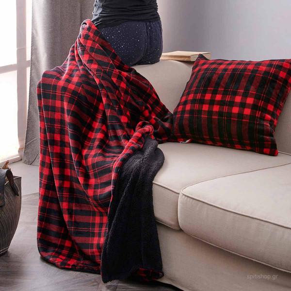 Κουβέρτα Καναπέ Palamaiki Check Red