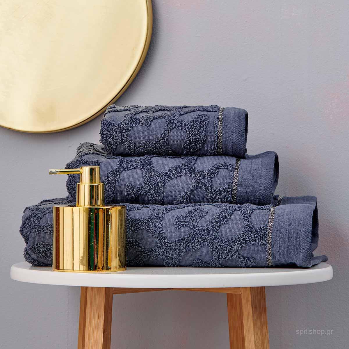 Πετσέτες Μπάνιου (Σετ 3τμχ) Palamaiki Towels Branzi Grey