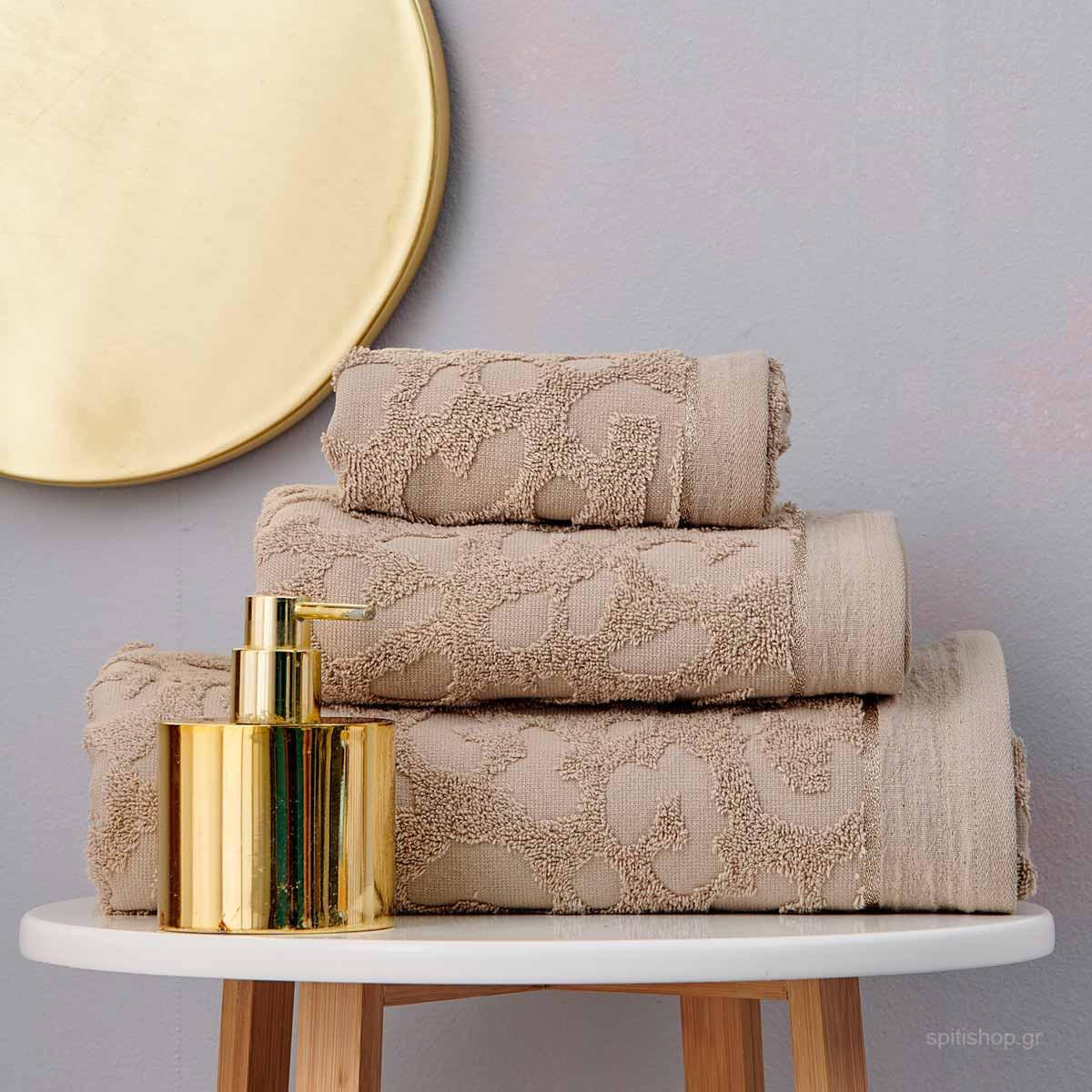 Πετσέτες Μπάνιου (Σετ 3τμχ) Palamaiki Towels Branzi Taupe