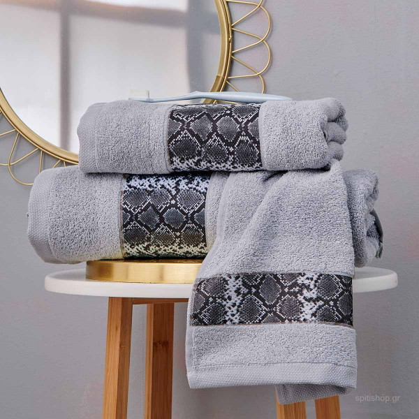 Πετσέτες Μπάνιου (Σετ 3τμχ) Palamaiki Towels Vipper Grey