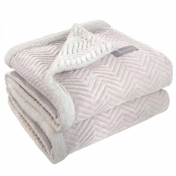 Κουβέρτα Fleece Υπέρδιπλη Με Γουνάκι Guy Laroche Velluto Ivory