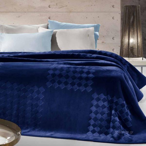 Κουβέρτα Βελουτέ Υπέρδιπλη Guy Laroche Grand Navy Blue