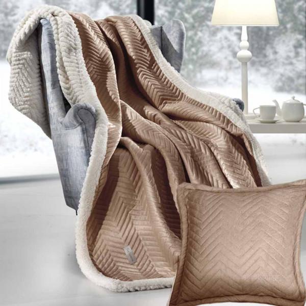 Κουβέρτα Καναπέ + Μαξιλαροθήκη (Σετ) Guy Laroche Velluto Camel