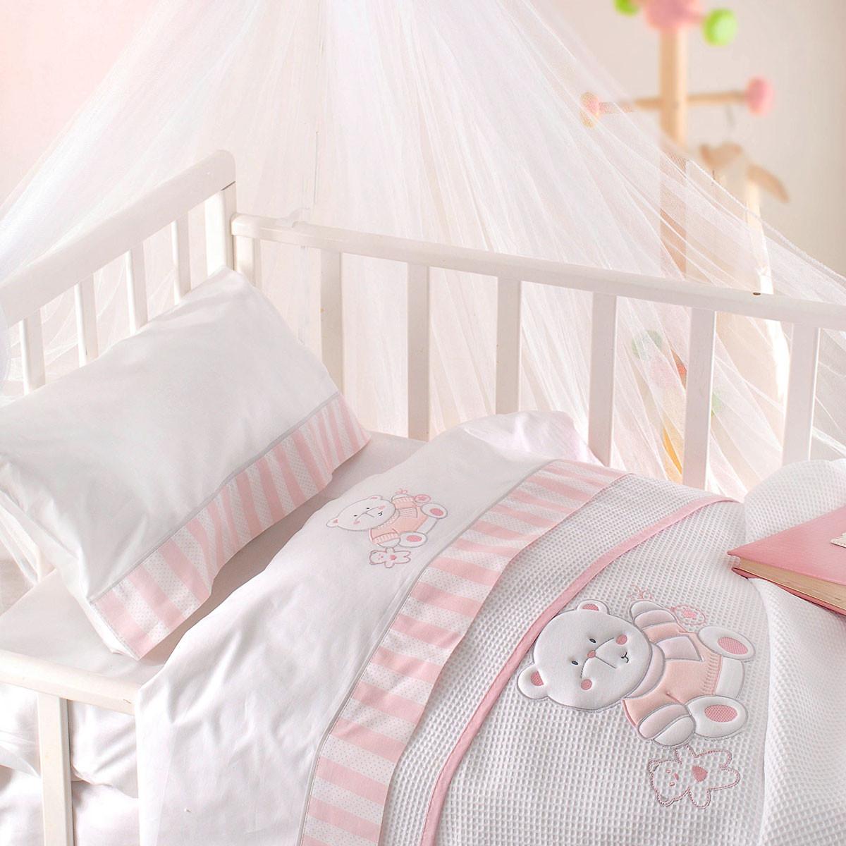 Κουβέρτα Πικέ Κούνιας Rythmos Smile Pink