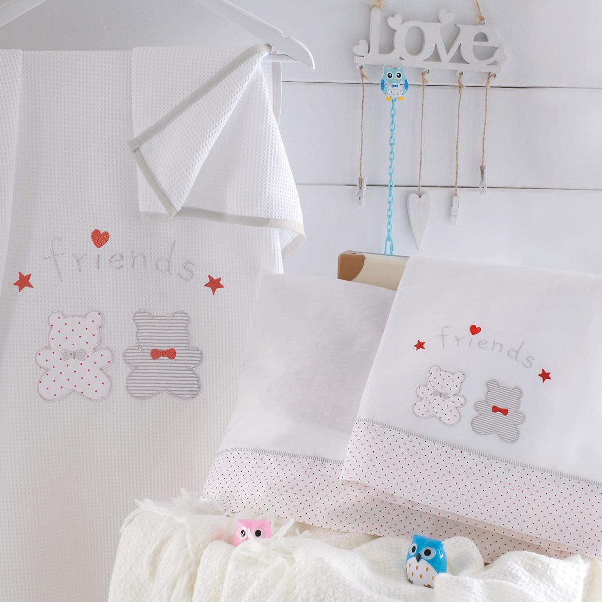 Κουβέρτα Πικέ Κούνιας Rythmos Bip & Pip White