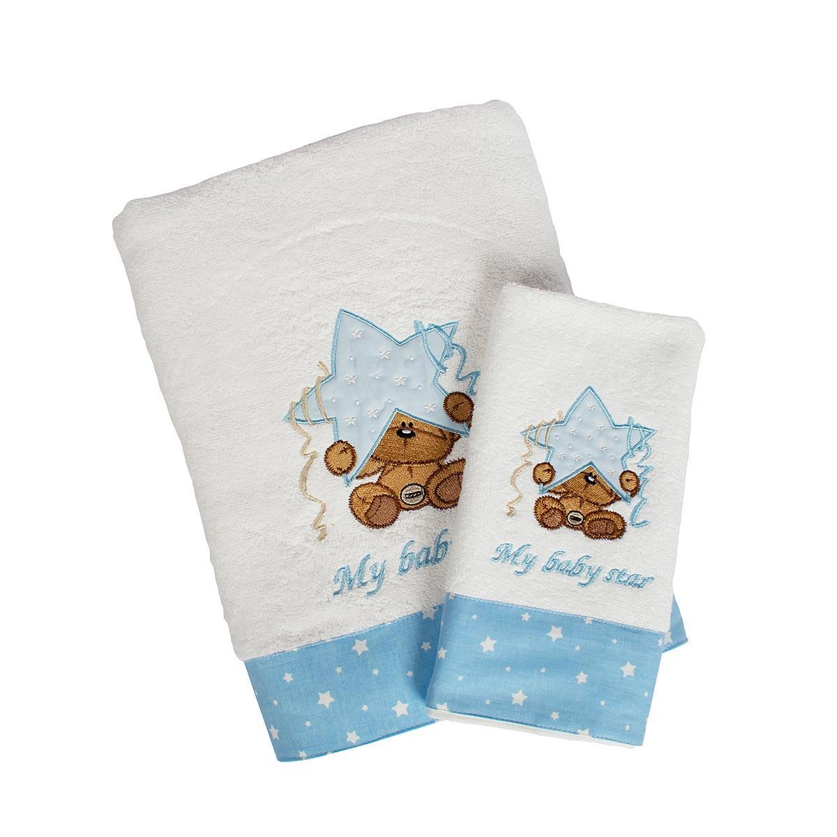Βρεφικές Πετσέτες (Σετ 2τμχ) Dimcol Αστέρι 127 Λευκό/Σιέλ