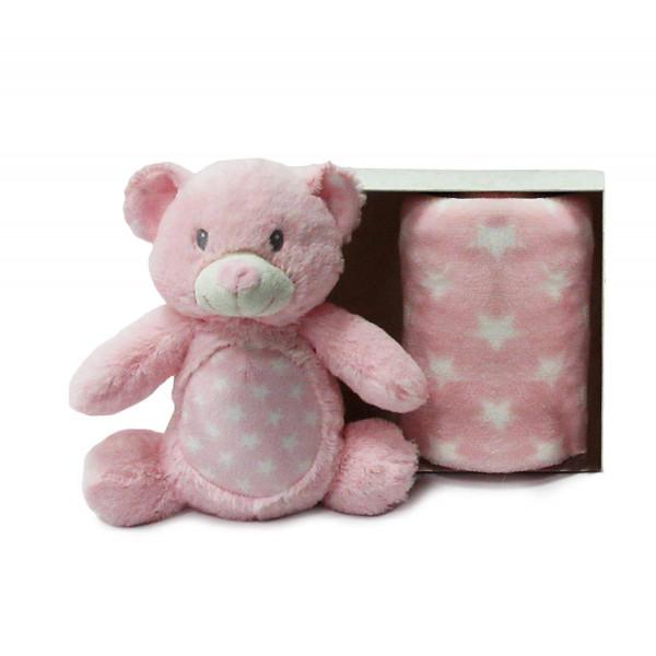 Κουβέρτα Fleece Αγκαλιάς + Λούτρινο DimCol Αρκούδος 04 Ροζ