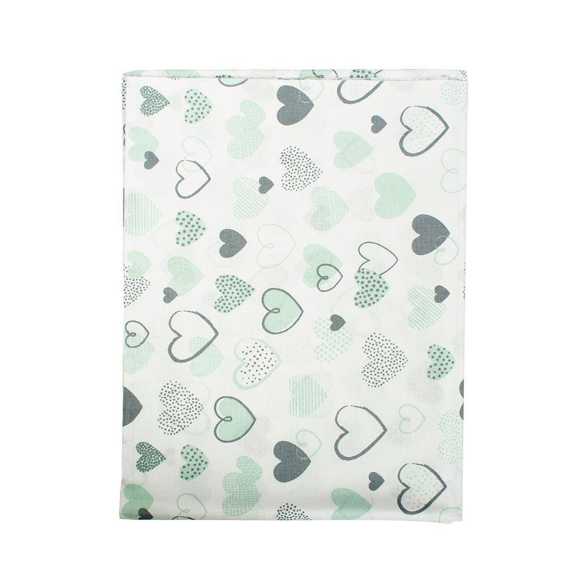 Σεντόνια Μονά (Σετ 2τμχ) Dimcol Hearts 10 Green