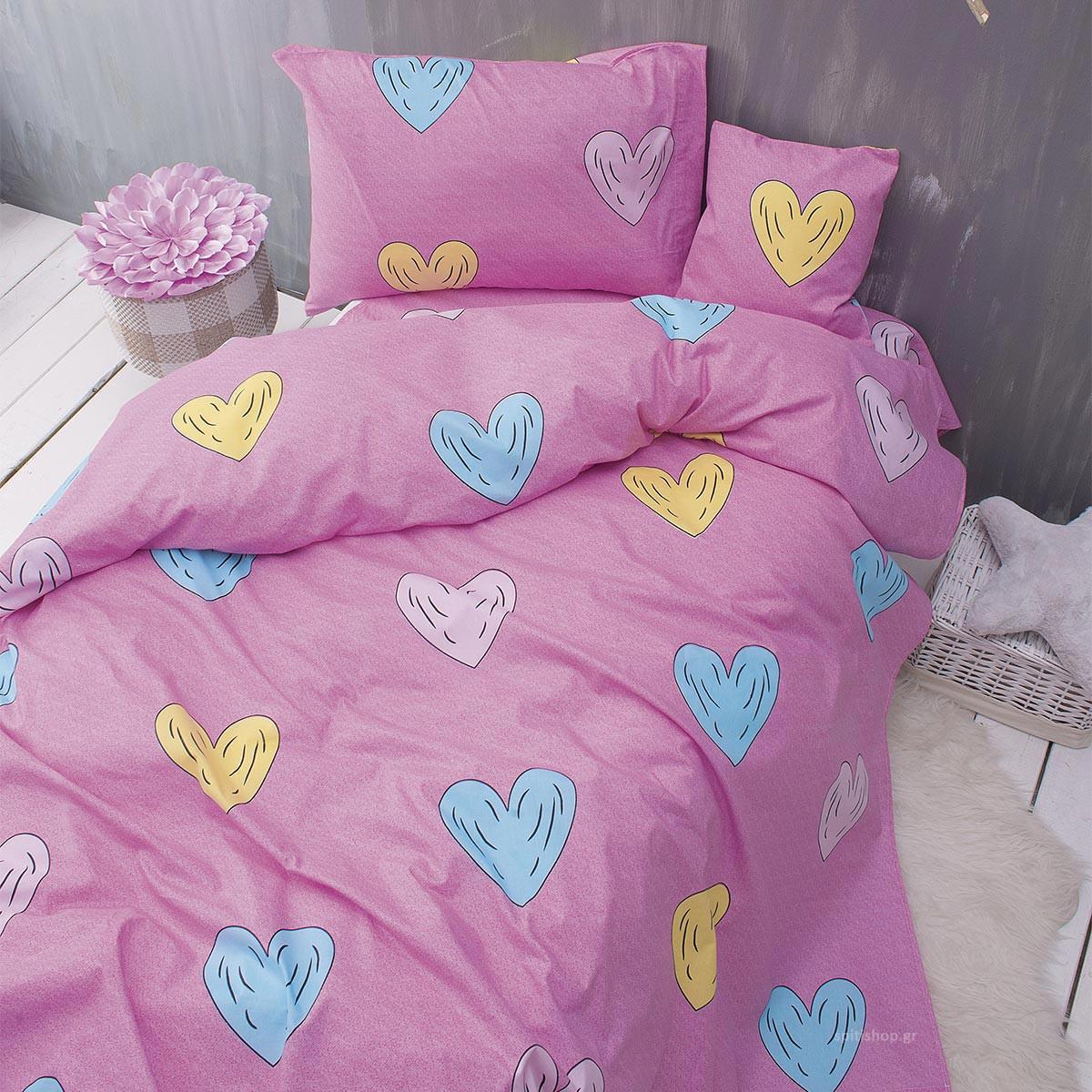 Σεντόνια Μονά (Σετ) Rythmos Nova Libi Pink ΧΩΡΙΣ ΛΑΣΤΙΧΟ 160×260 ΧΩΡΙΣ ΛΑΣΤΙΧΟ 160×260