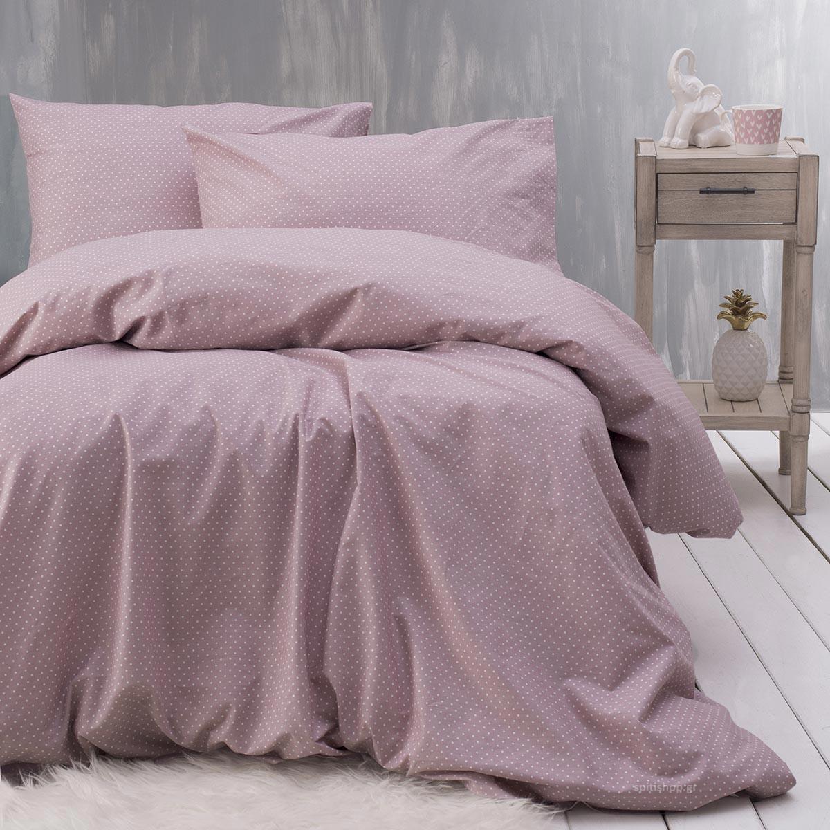 Σεντόνια Μονά (Σετ) Rythmos Symbol Dotty Pink ΧΩΡΙΣ ΛΑΣΤΙΧΟ 160×260 ΧΩΡΙΣ ΛΑΣΤΙΧΟ 160×260