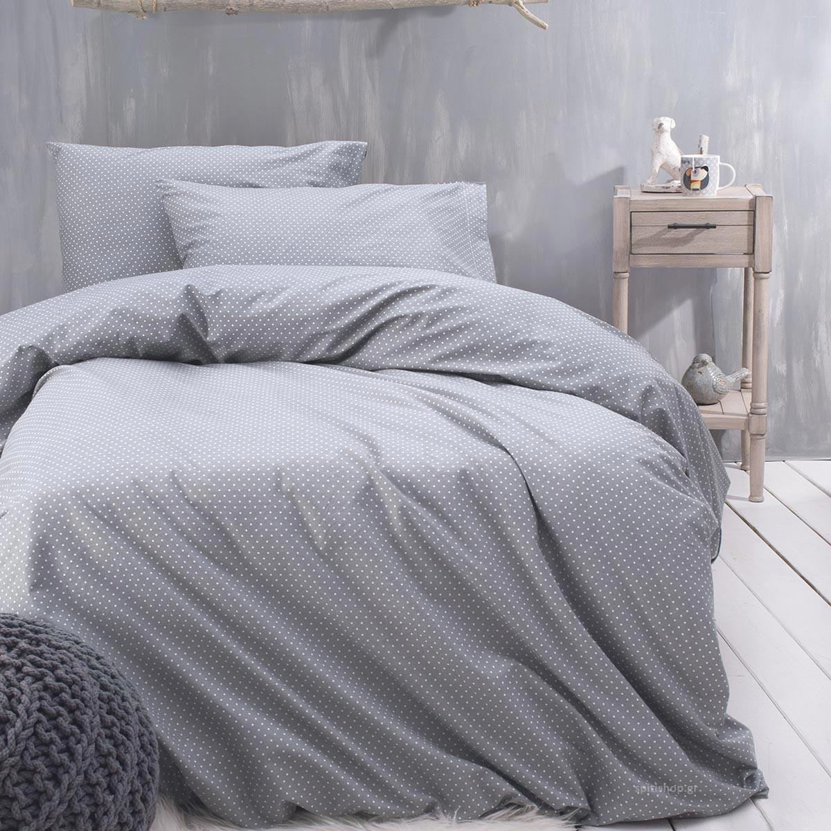 Σεντόνια Μονά (Σετ) Rythmos Symbol Dotty Grey ΜΕ ΛΑΣΤΙΧΟ 105×205+25 ΜΕ ΛΑΣΤΙΧΟ 105×205+25