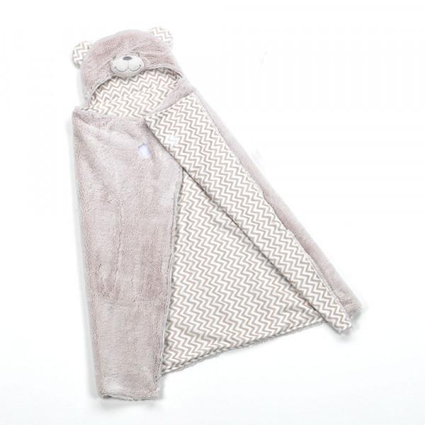 Κουβέρτα Fleece Αγκαλιάς Με Κουκούλα Morven Pompon F73/02 Μπεζ