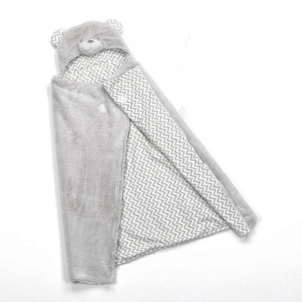 Κουβέρτα Fleece Αγκαλιάς Με Κουκούλα Morven Pompon F73/06 Γκρι
