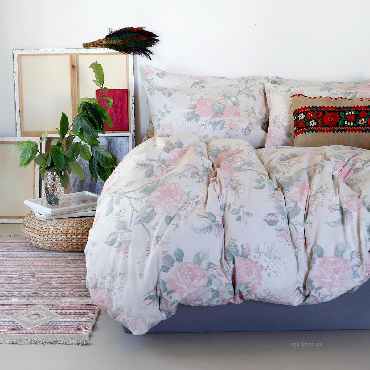 Φανελένια Σεντόνια King Size (Σετ) Melinen Carmen Dusty Pink ΧΩΡΙΣ ΛΑΣΤΙΧΟ 260×270 ΧΩΡΙΣ ΛΑΣΤΙΧΟ 260×270