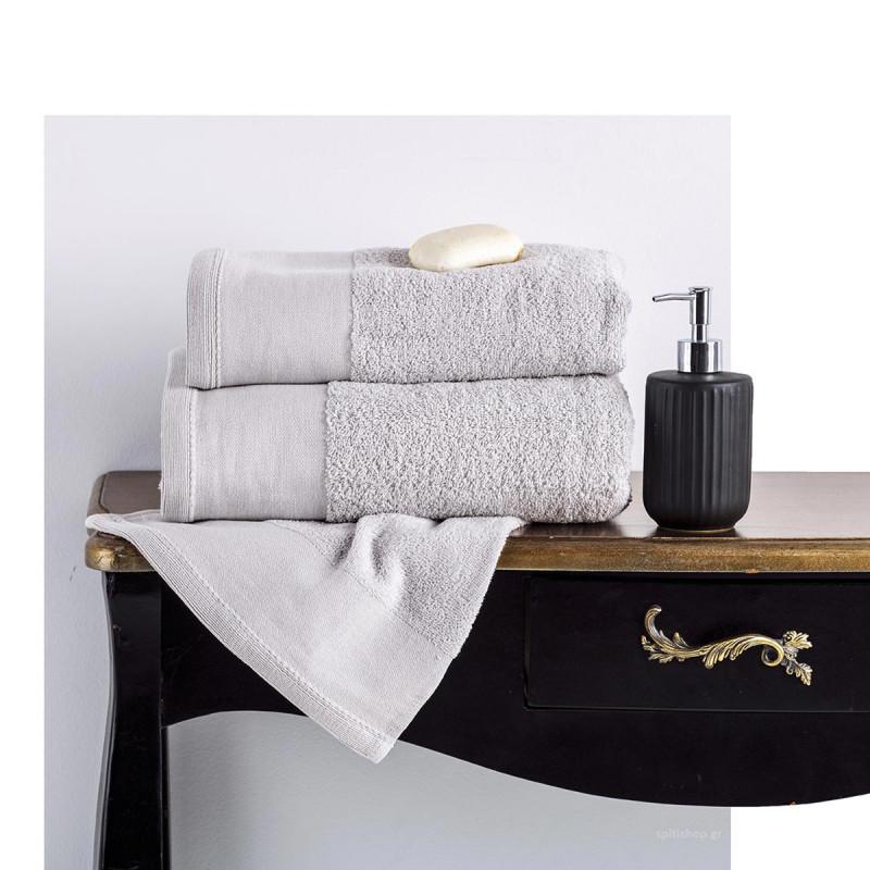 Πετσέτες Μπάνιου (Σετ 3τμχ) Sb Home Isabella Silver