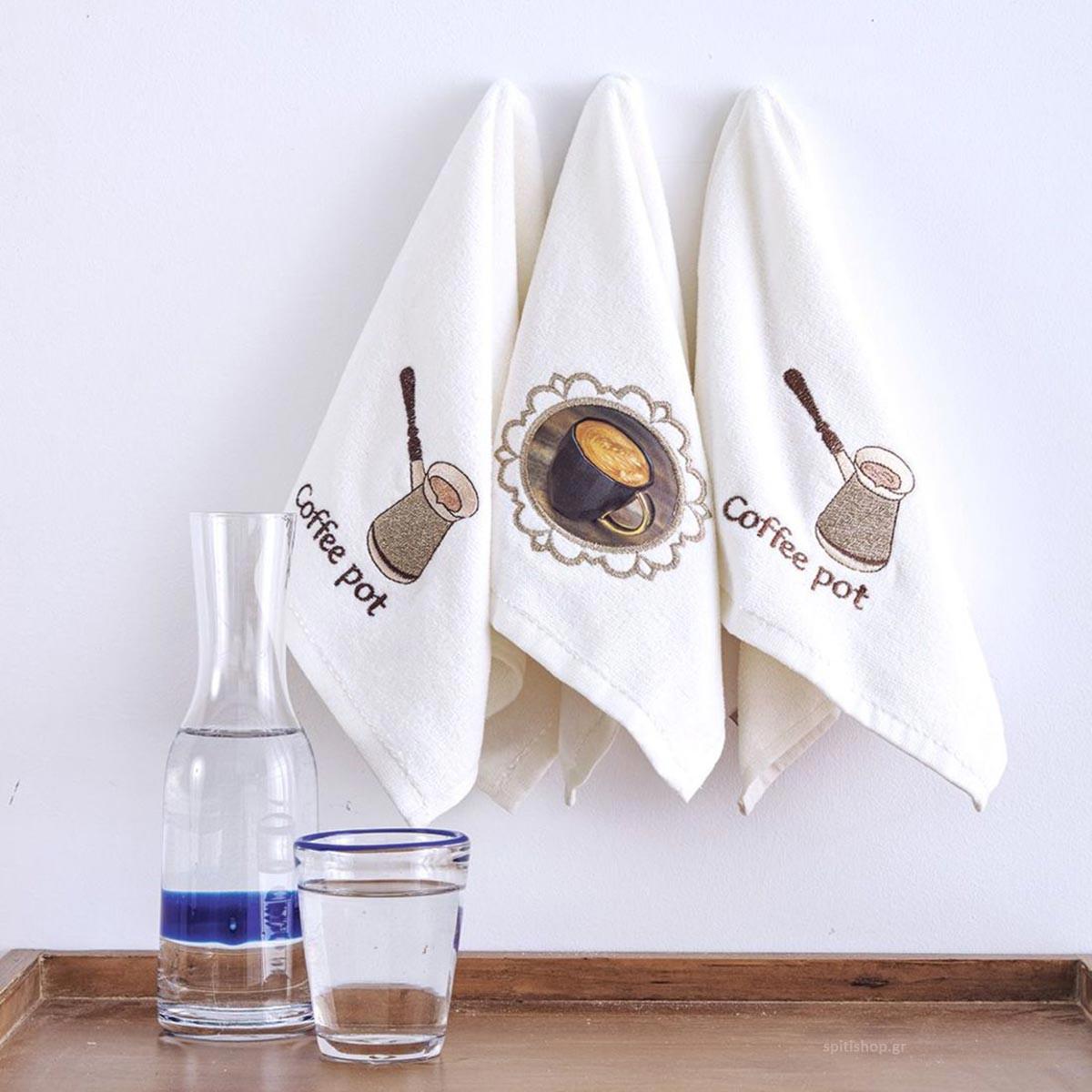 Πετσέτες Κουζίνας (Σετ 3τμχ) Sb Home Coffee Time No8