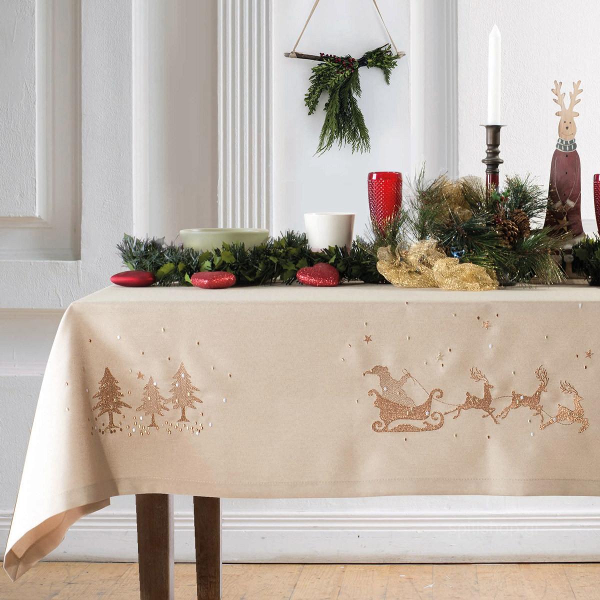 Χριστουγεννιάτικο Τραπεζομάντηλο (160×260) Makis Tselios Deer