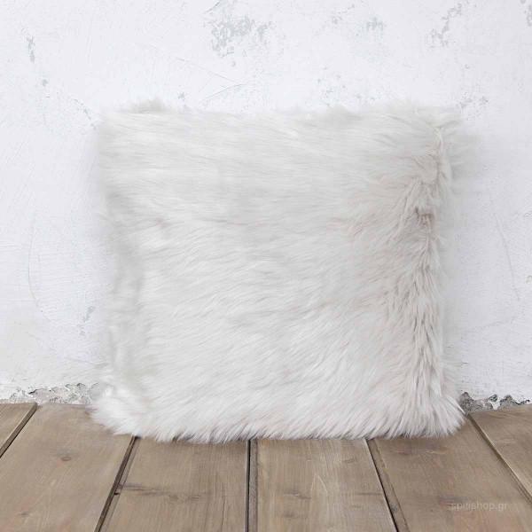 Διακοσμητικό Μαξιλάρι (45x45) Nima Throws Velvet Ivory