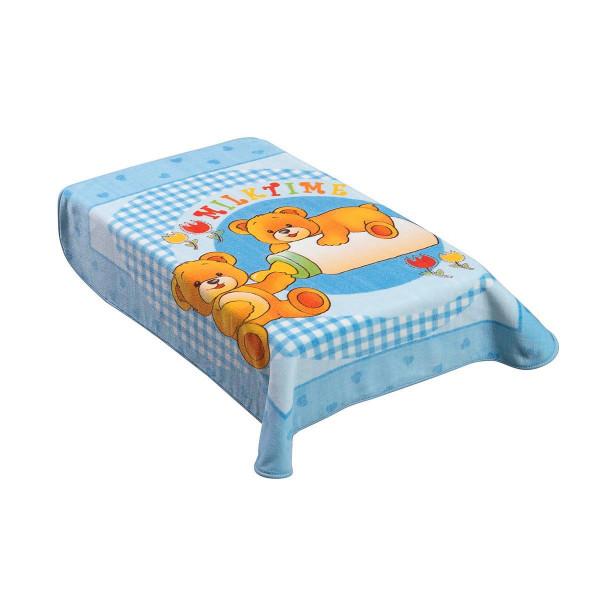 Κουβέρτα Βελουτέ Κούνιας AdamHome Dorm Blue