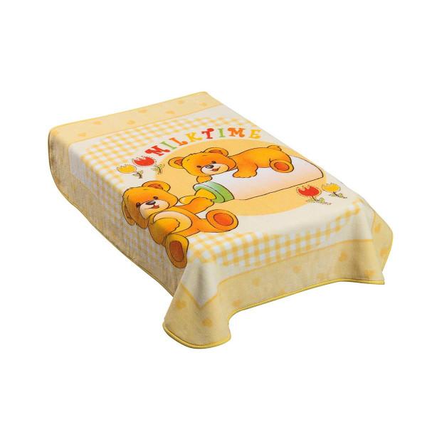 Κουβέρτα Βελουτέ Κούνιας AdamHome Dorm Yellow
