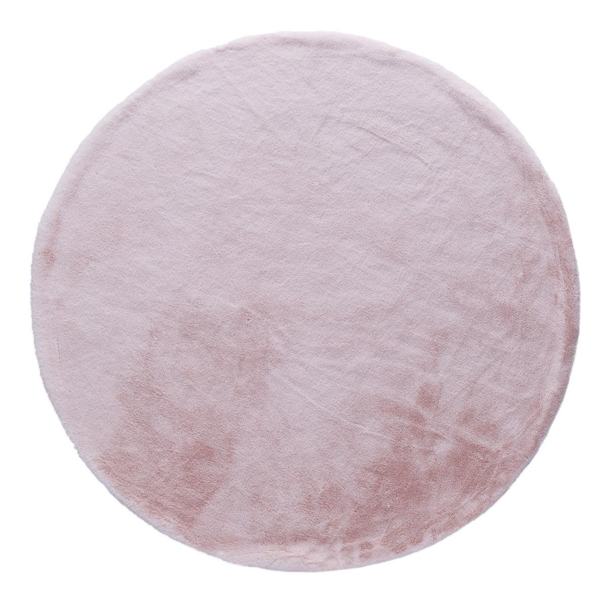 Γούνινο Στρογγυλό Χαλί (Φ160) New Plan Rabbit Skin R06 Pink