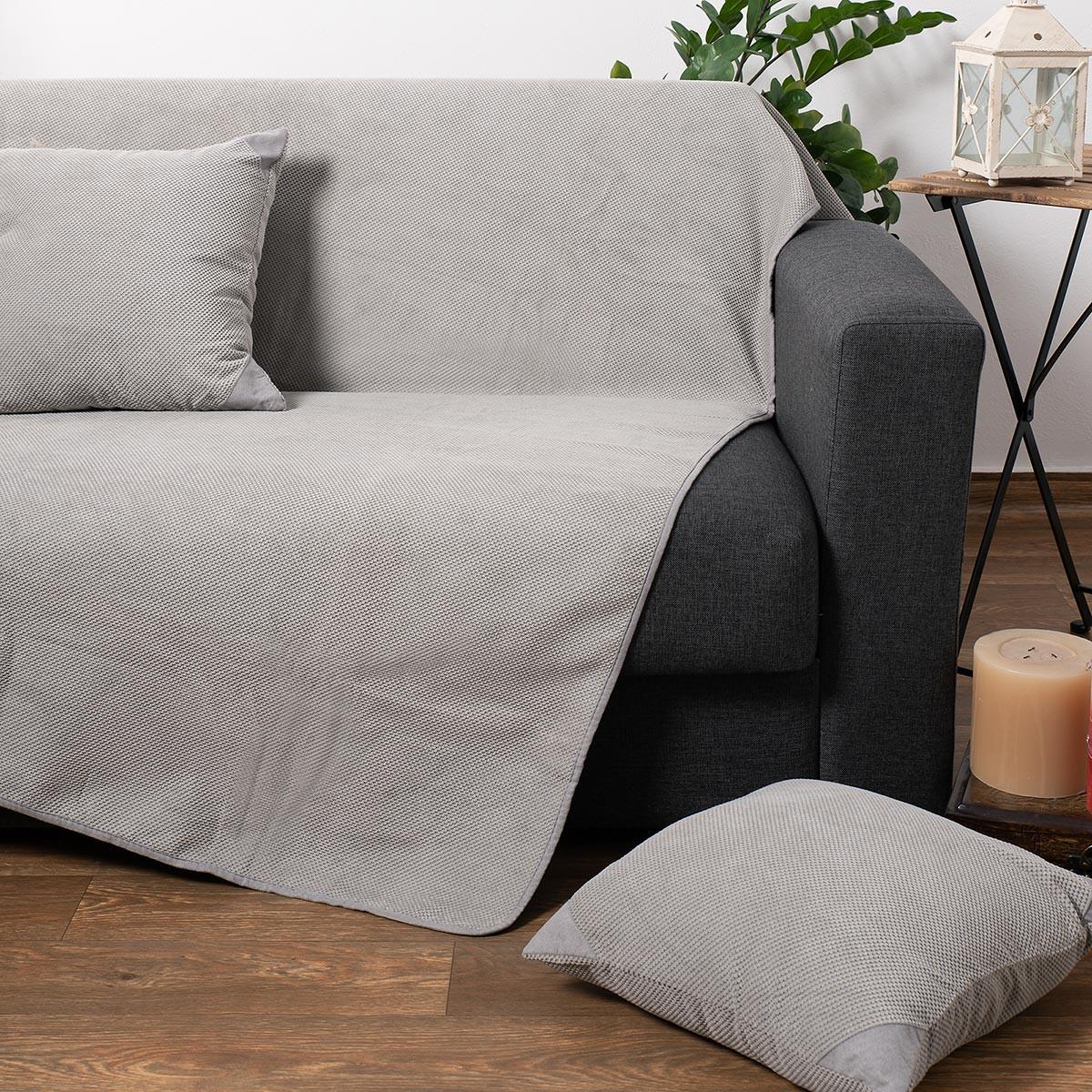 Ριχτάρι Τετραθέσιου (180×350) Silk Fashion 1715 Grey