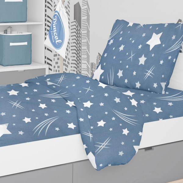 Φανελένια Παπλωματοθήκη Μονή Dimcol Star 37 Blue