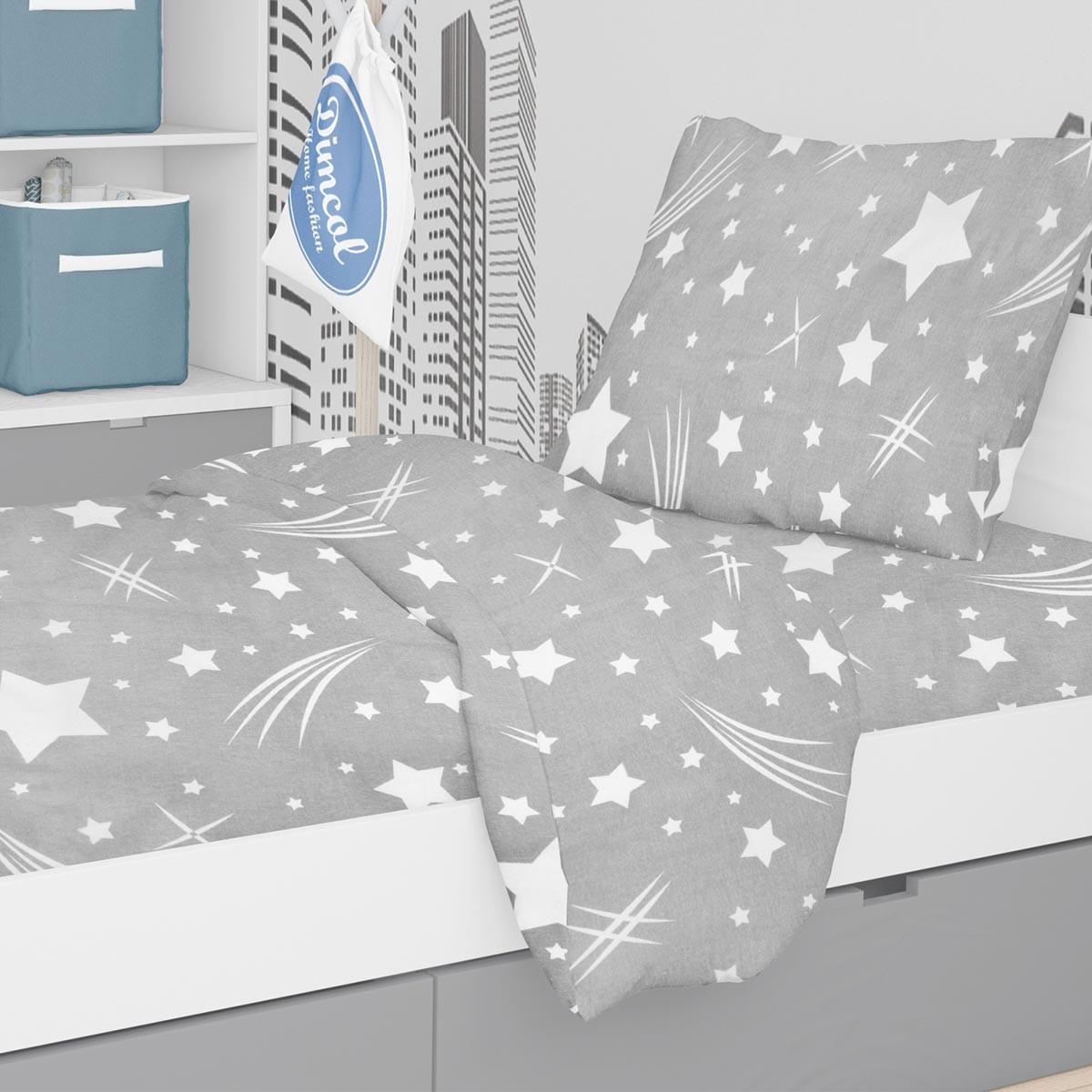 Φανελένια Παπλωματοθήκη Μονή Dimcol Star 38 Grey