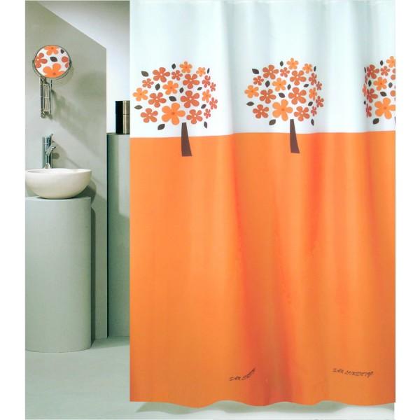 Κουρτίνα Μπάνιου (180x180) Με Κρίκους San Lorentzo Tree Orange