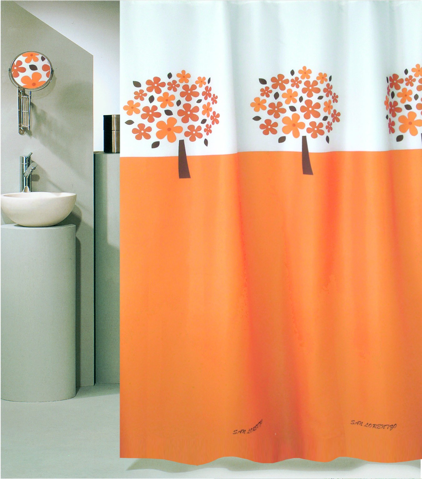 Κουρτίνα Μπάνιου (180×180) Με Κρίκους San Lorentzo Tree Orange