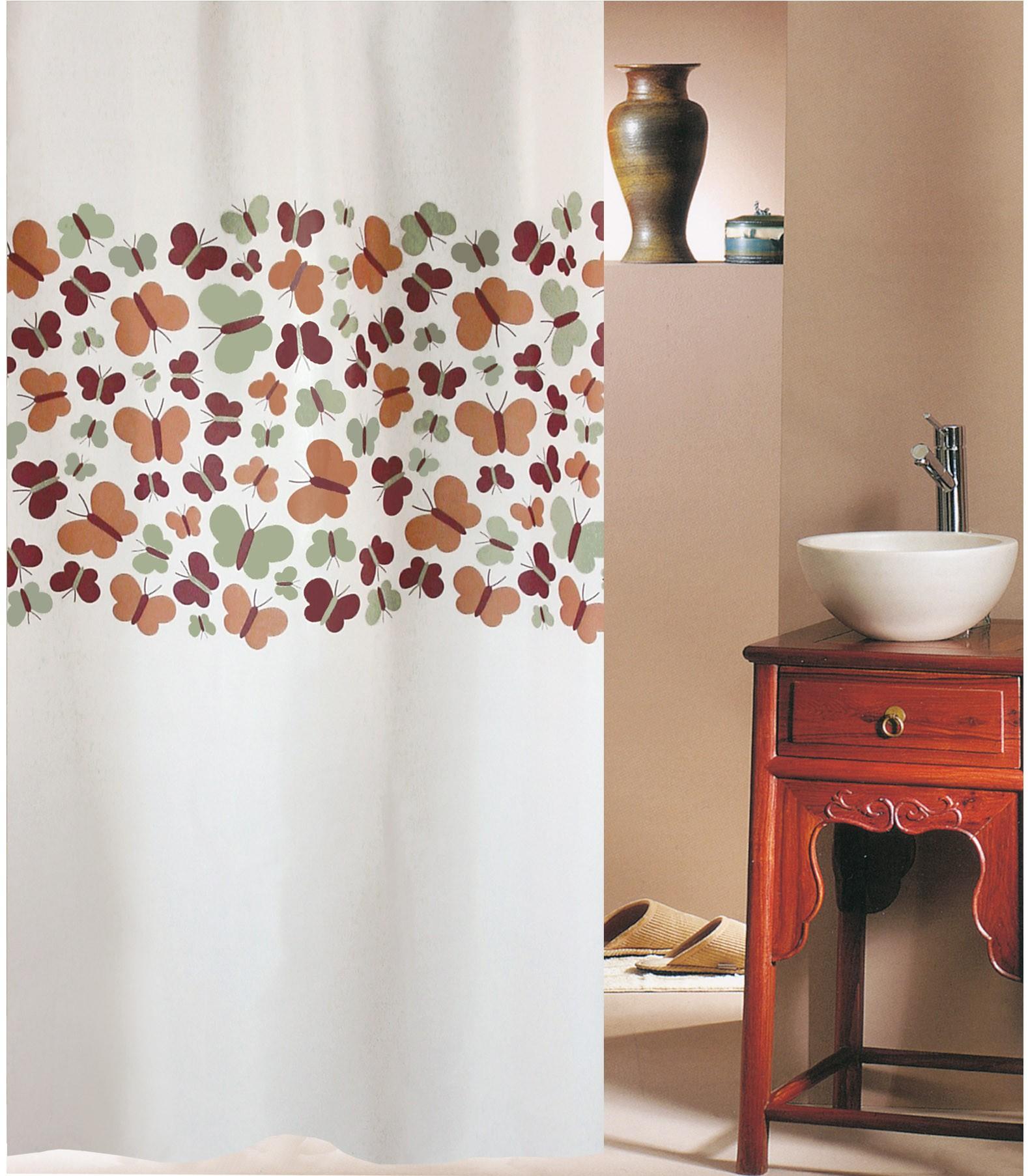 Κουρτίνα Μπάνιου (180x180) San Lorentzo Butterflies Beige