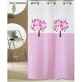 Κουρτίνα Μπάνιου (180x180) Με Τρουκς San Lorentzo Tree Pink