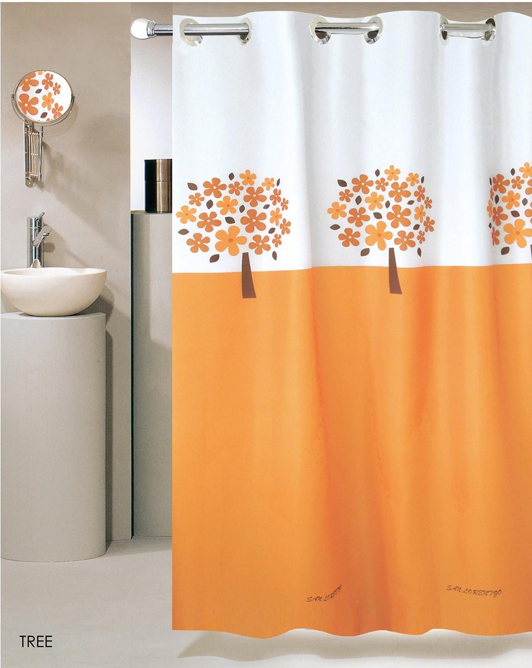 Κουρτίνα Μπάνιου (180x180) Με Τρουκς San Lorentzo Tree Orange