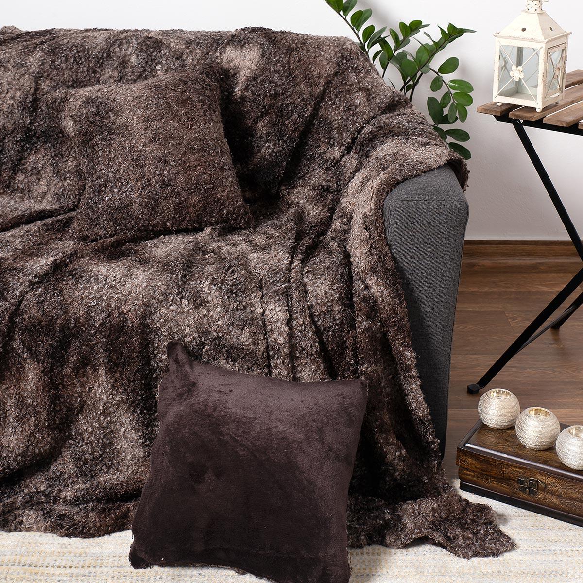 Γούνινο Ριχτάρι Πολυθρόνας (180×180) Silk Fashion Astrakan Brown